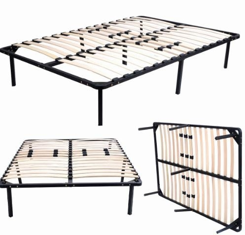 Hotel Square Black Metal Slatted Bed Base , Detachable Metal Sprung Bed Base
